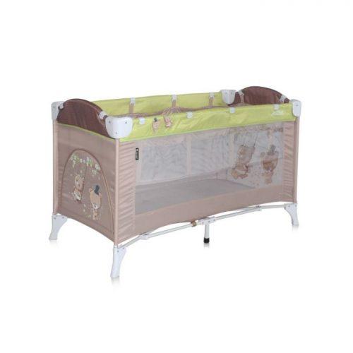 LORELLI ARENA II Ceļojuma gulta, 2 līmeņi – BEIGE&GREEN BEARS