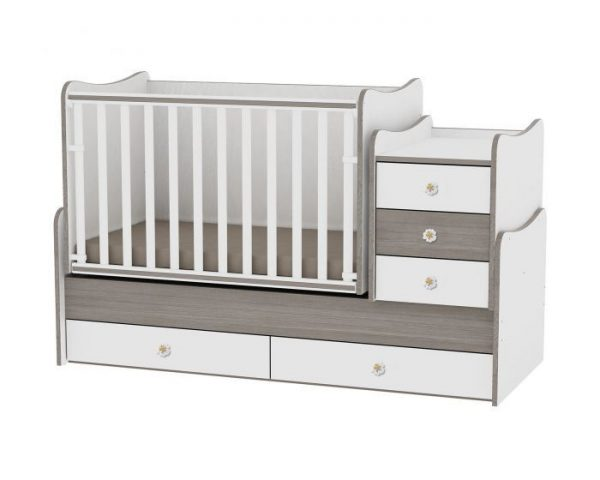 LORELLI MAXI PLUS bērnu gulta 70x160cm – WHITE&COFFEE