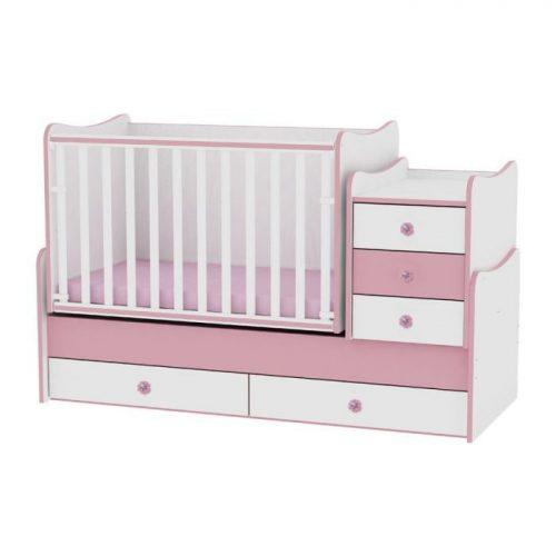 LORELLI MAXI PLUS bērnu gulta 70x160cm – WHITE/PINK