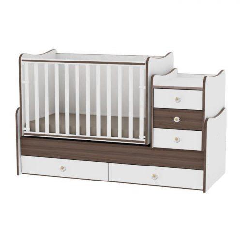 LORELLI MAXI PLUS bērnu gulta 70x160cm – WHITE/WALNUT