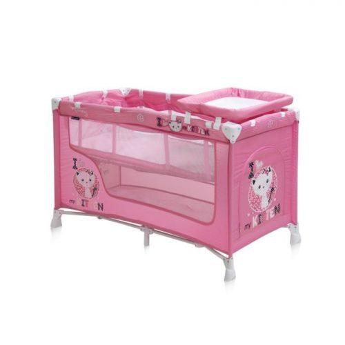 LORELLI NANNY 2 Ceļojuma gultiņa, 2 līmeņi – PINK KITTEN