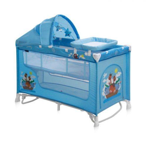 LORELLI NANNY 2 ROCKER PLUS Ceļojuma gultiņa , 2 līmeņi – BLUE ADVENTURE