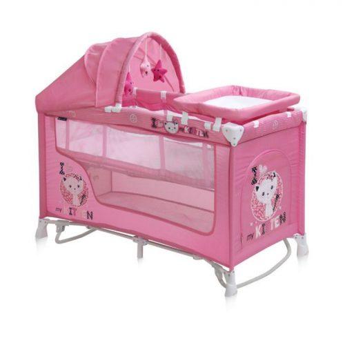 LORELLI NANNY 2 ROCKER PLUS Ceļojuma gultiņa , 2 līmeņi – PINK KITTEN