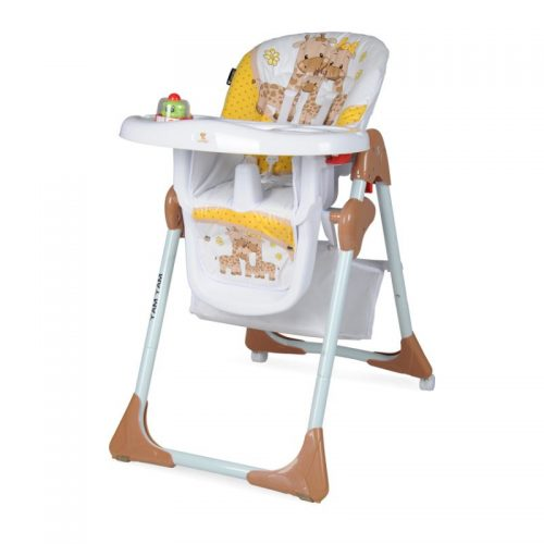 LORELLI YAM YAM Barošanas krēsls 6m+ BEIGE&YELLOW HAPPY FAMILY
