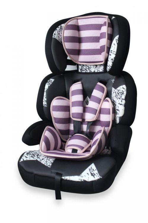 Lorelli JUNIOR PREMIUM bērnu autokrēsls PINK&BLACK STARS 9-36kg