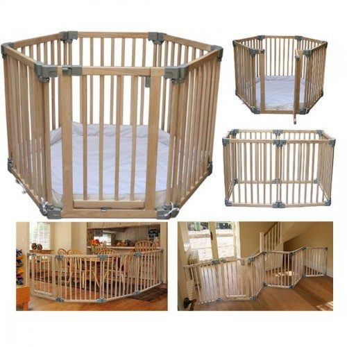 CLIPPASAFE 108 Natural Wood Play Pen koka sētiņa/barjeriņa ar matraci, CL1080