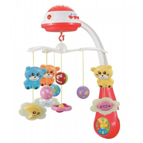 BABY MIX Muzikālais karuselis ar plastmasas mantiņām 408930 sarkans