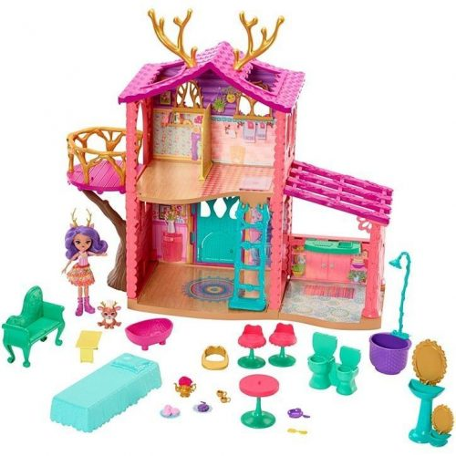 MATTEL lelle ar māju un aksesuāriem ENCHANTIMALS COZY DEER HOUSE