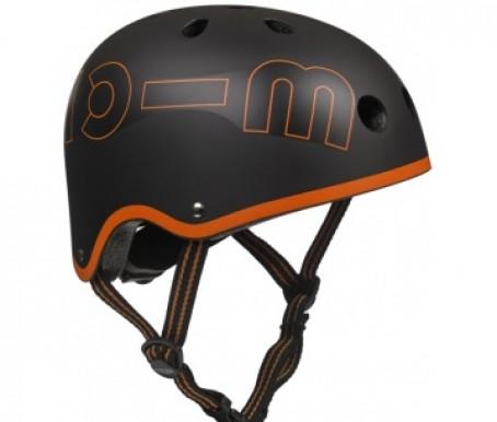 "Bērnu ķivere "" Micro Helmet"" melna ar oranžu maliņu"