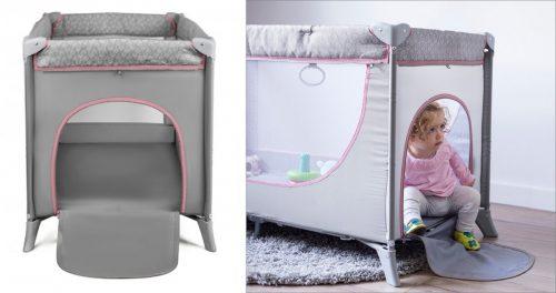 Bērnu ceļojumu gultiņa  – divlīmeņu KinderKraft Joy Pink