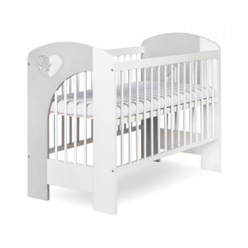 Bērnu gulta 120x60cm KLUPS NEL SERCE , balta/pelēka