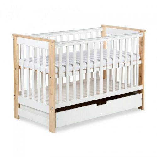 Bērnu gulta ar atvilktni un barjeru 120x60cm KLUPS IWO , balta-priede