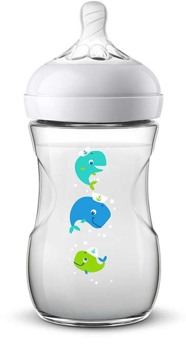 PHILIPS AVENT BAROŠANAS PUDELĪTE NATURAL WHALE 260 ML, 1M+