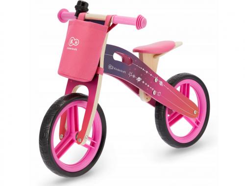 KinderKraft '19 skrējritenis ar koka rāmi Runner Galaxy Pink