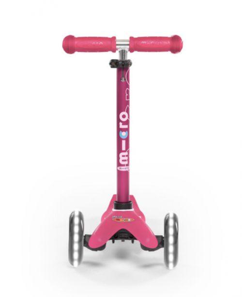 skrejritenis Micro Mini Deluxe LED ( spīdoši riteņi ) – rozā