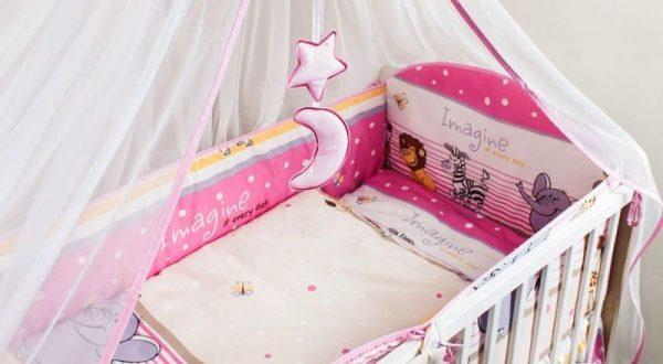 """ANKRAS Apmalīte bērnu gultiņai """"Imagine"""" 360 cm – rozā"""