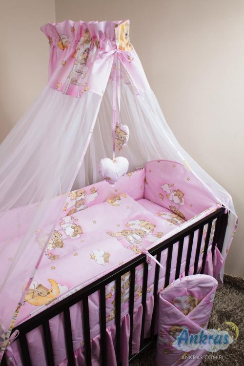 ANKRAS BEARS ON A LADDER gultas veļas komplekts no 4 daļām 135x100cm – 360cm – rozā