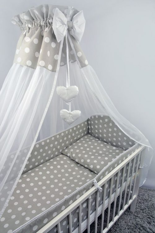 ANKRAS Dots Apmalīte bērnu gultiņai 360 cm – pelēka