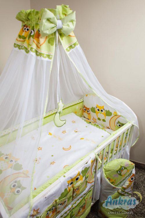 ANKRAS OWLS gultas veļas komplekts no 4 daļām 120x90cm – 360cm – zaļš
