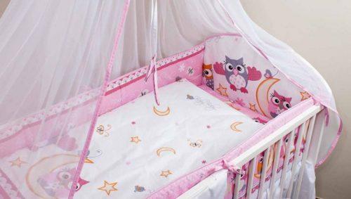 ANKRAS Owl Apmalīte bērnu gultiņai 360 сm – rozā