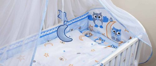 ANKRAS Owl Apmalīte bērnu gultiņai 360 сm – zila