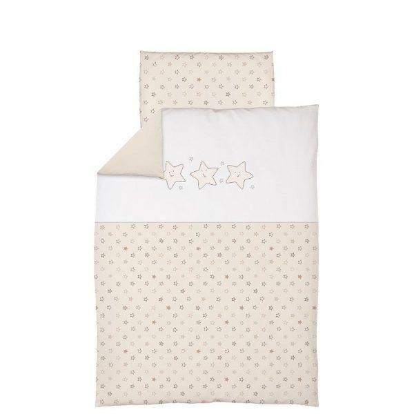 CEBABABY gultas veļas komplekts no 2 daļām ar izšuvumu 135x100cm ZVAIGZNES/BĒŠS