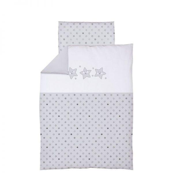 CEBABABY gultas veļas komplekts no 2 daļām ar izšuvumu 135x100cm ZVAIGZNES/PELĒKS