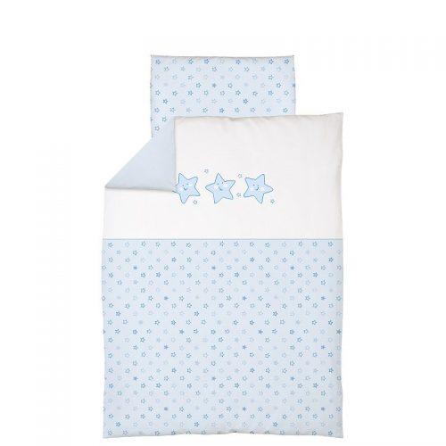 CEBABABY gultas veļas komplekts no 2 daļām ar izšuvumu 135x100cm ZVAIGZNES/ZILS
