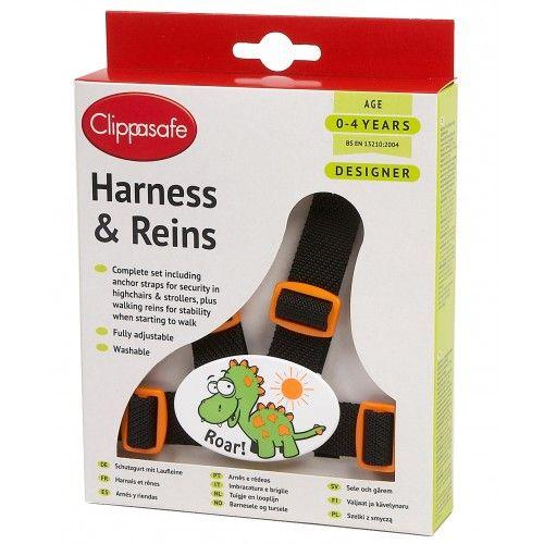 CLIPPASAFE 10D Designer Dino Harness & Reins (with Anchor Straps) Pavadiņas/drošības siksnas CL032