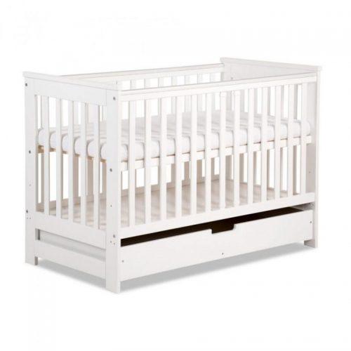 KLUPS IWO bērnu gulta ar atvilktni un barjeru 120x60cm, balta