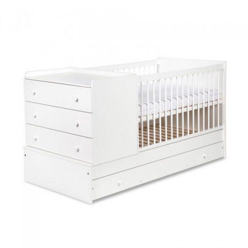 KLUPS KOMPAKT bērnu gulta ar kumodi 175x87cm, balta