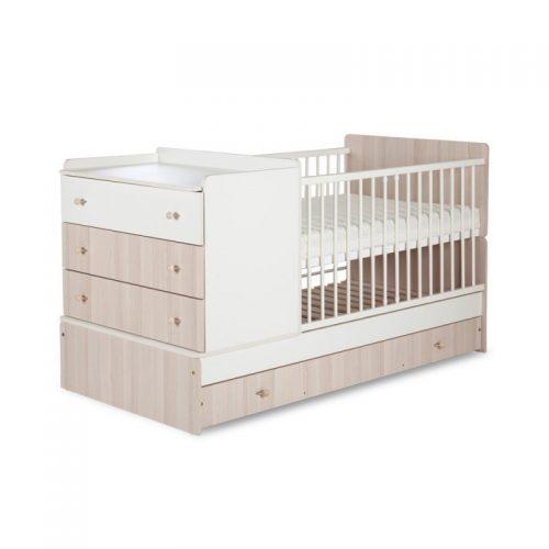 KLUPS KOMPAKT bērnu gulta ar kumodi 175x87cm, ecru-osis