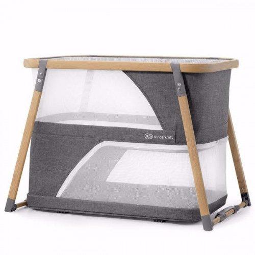 KinderKraft bērnu ceļojumu gultiņa – Divlīmeņu 4in1 Sofi Grey
