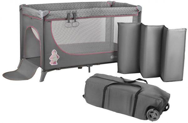 KinderKraft18 Vienlīmeņu bērnu ceļojumu gultiņa Joy Pink