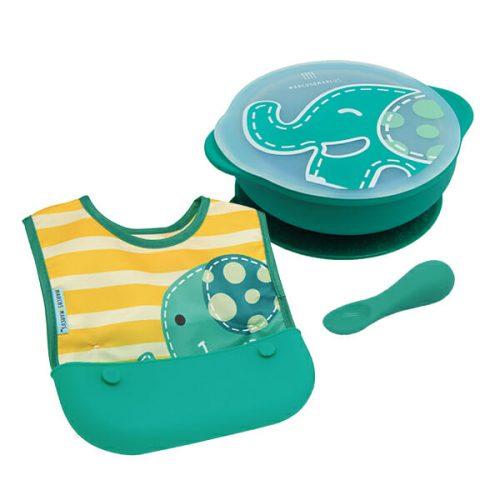 Toddler PATSTĀVĪGA MAZUĻA BAROŠANAS KOMPLEKTS – Ollie ( bļodiņa, karotīte, lacīte)