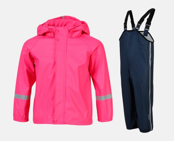 Reima '20 Tihku Bērnu ūdensnecaurlaidīgs starpsezonas komplekts bikses ( lietus bikses )+jaka rozā