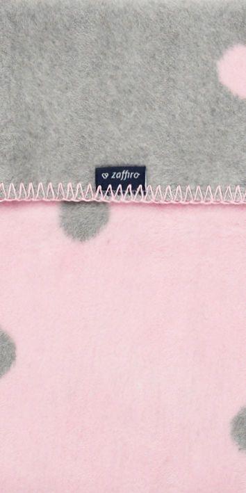 WOMAR Kokvilnas pleds 150x100cm Grey/pink DOTS