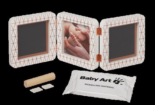 Baby Art Double Print Frame My baby Touch  Copper Edition komplekts mazuļa pēdiņu/rociņu nospieduma izveidošanai, white