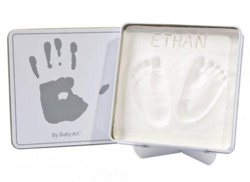 Baby Art Magic Box komplekts mazuļa pēdiņu/rociņu nospieduma izveidošanai, white&grey