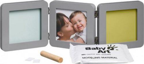Baby Art Modern Trendy Double Print Frame  komplekts mazuļa pēdiņu/rociņu nospieduma izveidošanai, grey