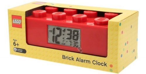 CLICTIME Galda pulkstenis Lego klucis, sarkans
