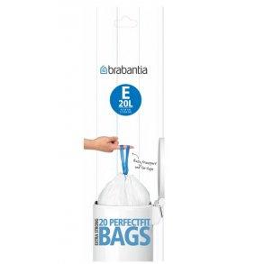 BRABANTIA atkritumu tvertņu maisiņi, 20 l, (E) (20maisi rullītī), White