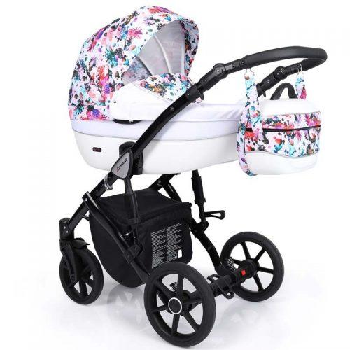 Kunert Lavado  bērnu rati  2 in 1 gaiši raibs ( rāmis gaišā vai melnā krāsā)