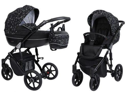 Kunert Lavado  bērnu rati  2 in 1 melns( rāmis gaišā vai melnā krāsā)