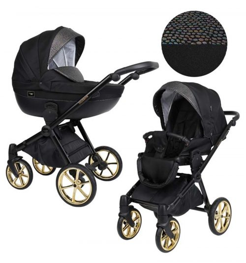 Kunert Talisman bērnu rati  2 in 1 ( melns + spīdīgs)