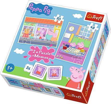 TREFL Puzles komplekts Peppa Pig 30 gab + 48 gab + 24 memo