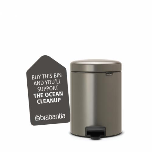 BRABANTIA atkritumu tvertne ar pedāli NewIcon, 5 l, Platinum