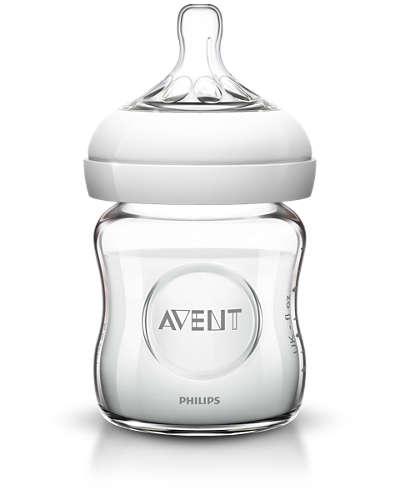 Izpārdošana! Philips Avent stikla barošanas pudelīte Natural 125 ml, 0M+