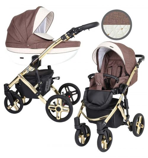 Kunert Mila Premium Class bērnu rati  2 in 1  šokolāde Graneta  ( rāmis zelta vai sudraba krāsā)