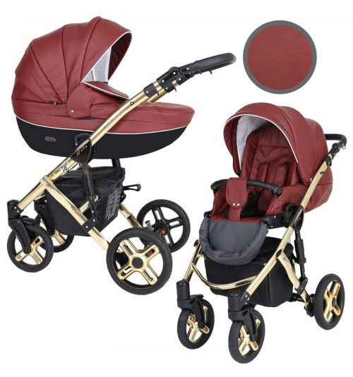 Kunert Mila Premium Class bērnu rati  2 in 1  Marsala EKO ( rāmis zelta vai sudraba krāsā)